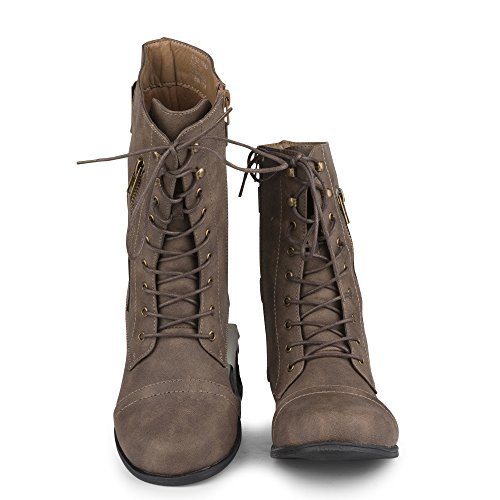 Twisted Women's TROOPER Wide Width/Wide Calf Mid-Calf Lace-Up Combat Boot - stylishcombatboots.com