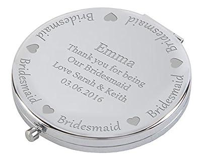 Engraved Bridesmaid Round Compact Mirror /& Gift Box FREE ENGRAVING