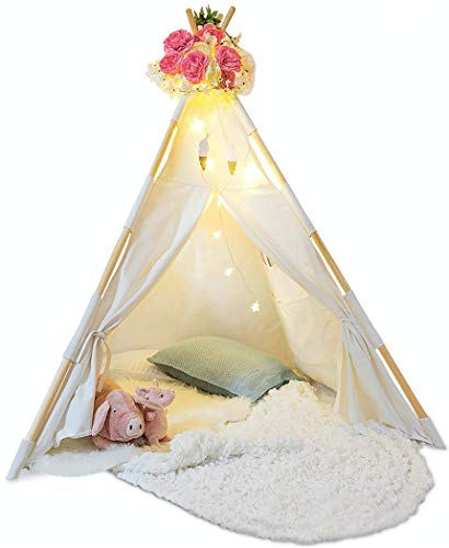 Kids Teepee Tent for Kids - With Fairy Lights -  Feathers & Waterproof Base -