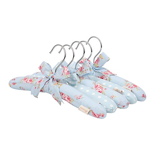 NEOVIVA Shirt Hangers for Kids, Wooden Hangers with Sponge Padding and Cloth Coating, Set of 5, Floral Ballad Blue