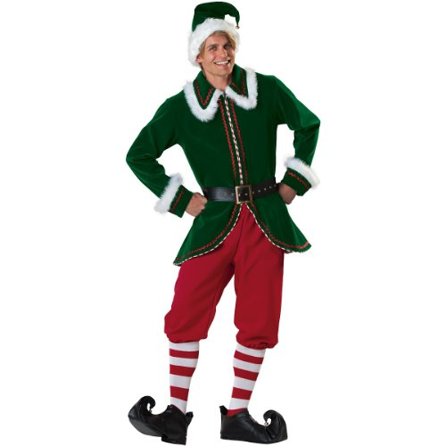 InCharacter Costumes Men's Santa's Elf Costume, Green/Red,