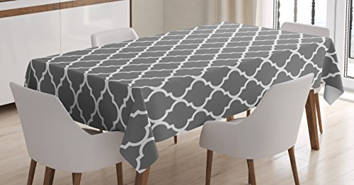 Design Lattice (Grey Tablecloth by Ambesonne, Quatrefoil Pattern Barbed Design Geometric Leaf Print Lattice Country Home Decorations, Dining Room Kitchen Rectangular Table Cover, 60 X 84 Inches)