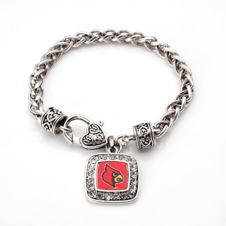 Louisville Square (Louisville Cardinals Classic Silver Plated Square Crystal Charm Bracelet)