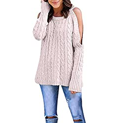 Women Tops, Gillberry Women Newest Cold Shoulder Soild Color Knitted Long Sleeve Pullovers Sweaters (Pink, S)