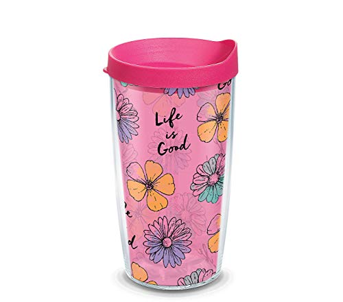 Tervis 1265651 Life is Good - Floral Pattern Tumbler with Wrap and Fuchsia Lid 16oz, Clear