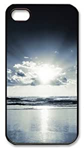 Apple iphone 4/4S Cases Sunrise At Sea Black and White Polycarbonate Plastic Shell Case Cover for iPhone 4S/4 - Black