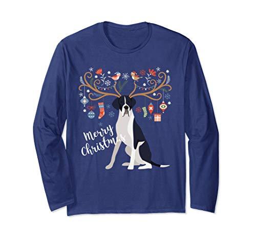 - Great Dane Dog Christmas Long Sleeve Shirt Mantle