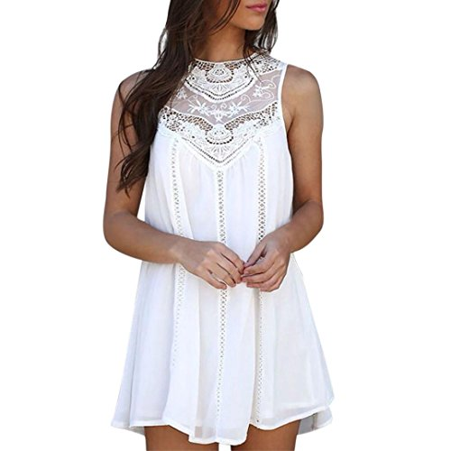 Pengy Women Boho Summer Sleeveless Round Neck Casual Loose Lace Chiffon White Mini Dress Blouse (White, M)