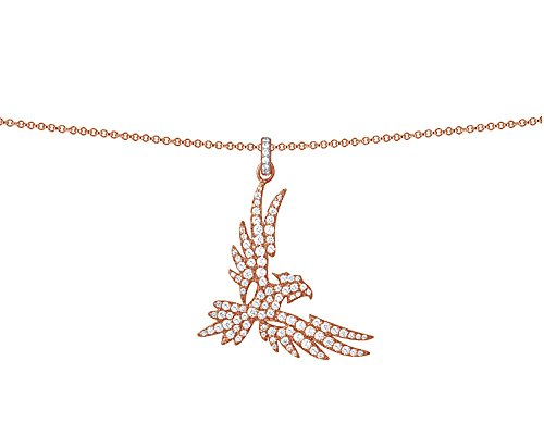 Wishrocks Round Cut White Cubic Zirconia Falcon Pendant Necklace in 14K Rose Gold Over Sterling Silver