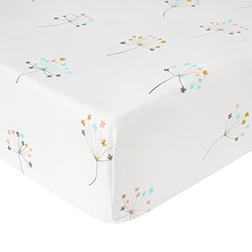- LifeTree Premium Fitted Cotton Crib Sheet Girls & Boys - Dandelion Print Cotton Toddler Sheet for Baby - Fits Standard Crib Mattresses or Toddler Beds Mattresses