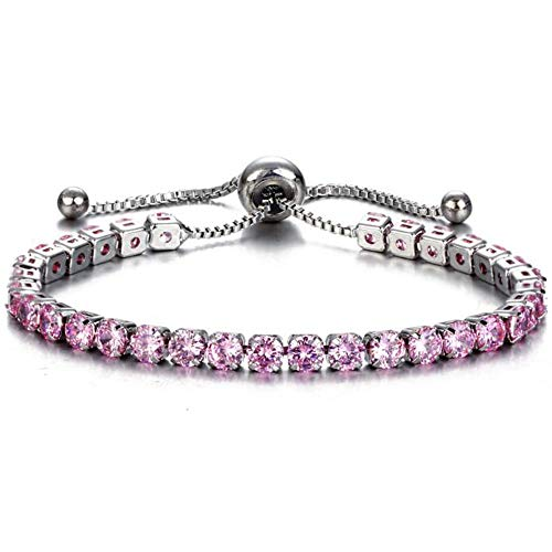 Jude Jewelers Adjustable Size Women Eternity Cubic Zircon Stackable Chain Bracelet (Silver Pink)