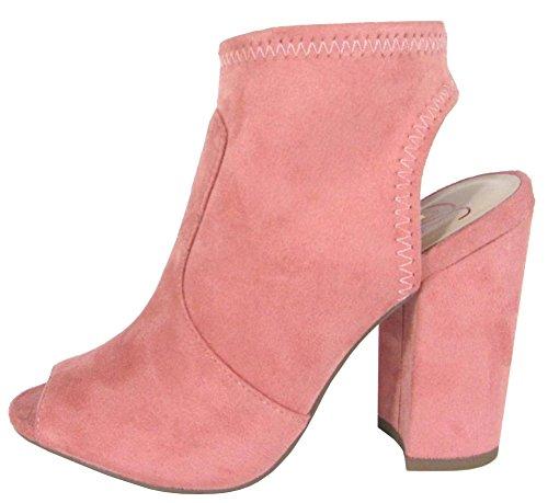 Delicious Women's Stretch Peep Toe Open Back Block Heel Sock Ankle Bootie,9 B(M) US,Salmon IMSU