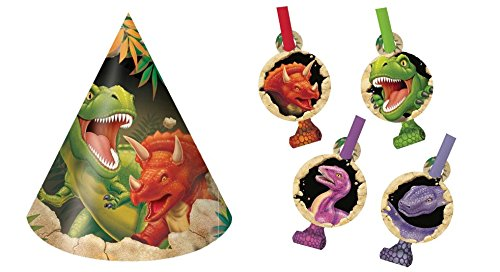 Dino Blast Birthday Party 8 Hats and 8 Blowouts Bundle (Dinos Party Store)