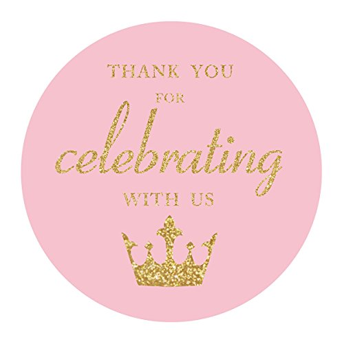 MAGJUCHE Pink Little Princess Thank You Stickers, Gold Glitter Girl Baby Shower or Birthday Party Crown Sticker Labels, 2 Inches, 40-Pack for $<!--$11.99-->