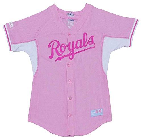 Kansas City Royals Girls Toddler Pink White Batting Practice Blank Jersey (Toddler 2T) by Outerstuff