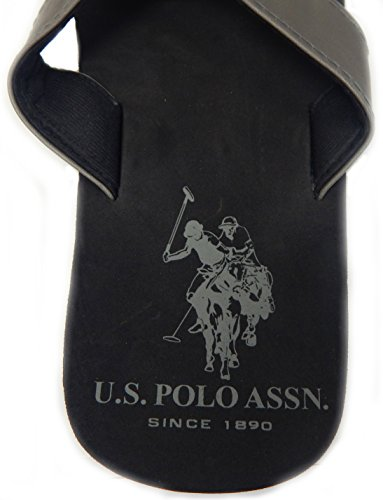 Us Polo Assn. Top De Tirantes Y Sandalias De Felpa Para Hombre Premium Confeccionado En Piel Y Felpa Gris