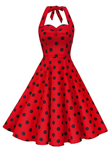 Anni Coco Women's Halter Polka Dots 1950s Vintage Swing Tea Dress – XX-Large – 2nd – Red & Black Dots