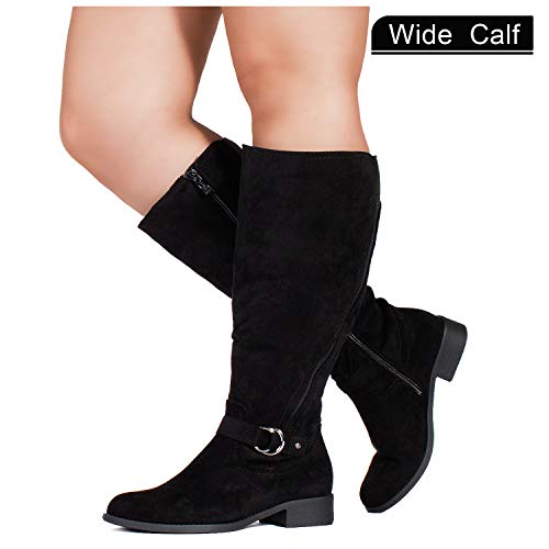 RF ROOM OF FASHION Wide Calf Stretchy Knee High Tall Riding Boots Black (10)