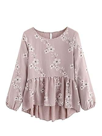 SheIn Women's Loose Ruffle Hem Peplum Short Sleeve Blouse Top Floral Pink Small