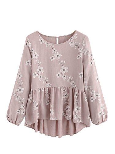 SheIn Women's Loose Ruffle Hem Peplum Short Sleeve Blouse Top Floral Pink# X-Large