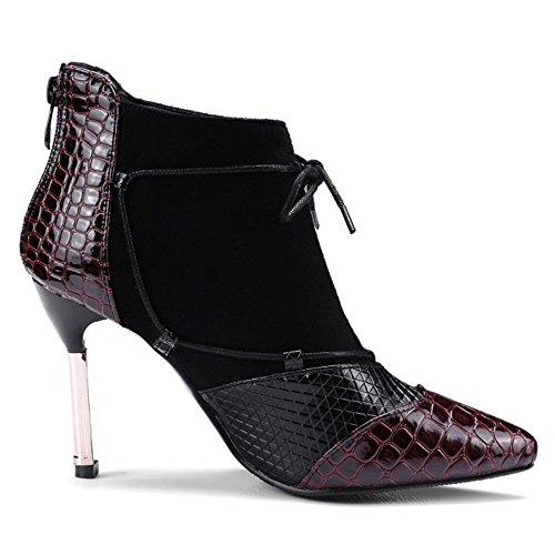 COOLCEPT Damen Western Stiletto Party Stiefel Kurzschaft With Zipper Wine Red