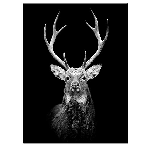 LevvArts - Black and White Wall Art Deer Picture Print on Canvas Wall Painting Modern Living Room Wall Decal,Gallery Wrapped,Animal Canvas Wall Art