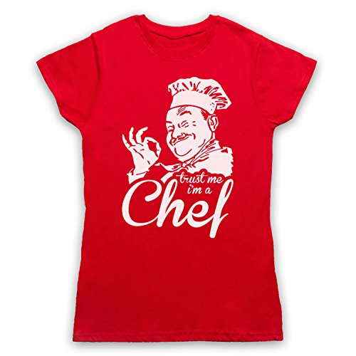 Trust Me I'm A Chef Funny Work Slogan Camiseta para Mujer Rojo