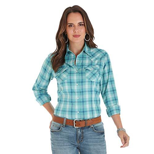 (Wrangler Women's Retro Long Sleeve Fashion Shirt, Turquoise/Navy, L)