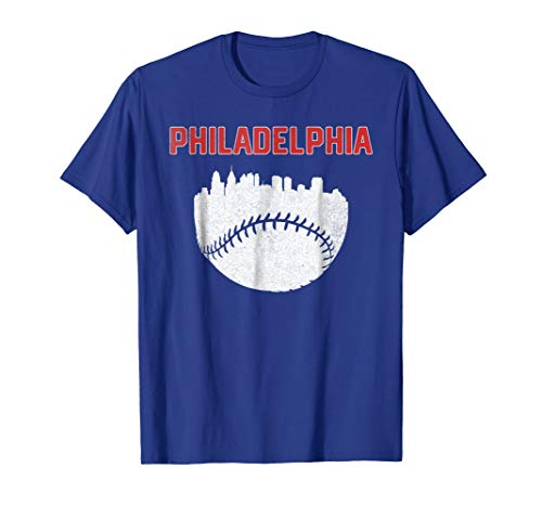 - Vintage Philadelphia PA Cityscape Baseball Retro T-Shirt