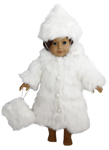 BUYS BY BELLA White Fur Coat for 18 Inch Dolls Like American Girl