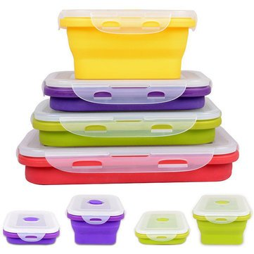 49d62daf8f33 Portable Lunch Box Silicone Lunch Box - 4 Size Collapsible Silicone ...