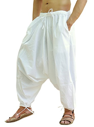 (Sarjana Handicrafts Men's Cotton Harem Yoga Baggy Genie Boho Pants (Free Size,)