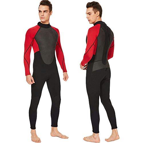 Realon Wetsuit Men Full 3mm Surfing Suit Diving Snorkeling Swimming Suit Jumpsuit (red/Black, ()