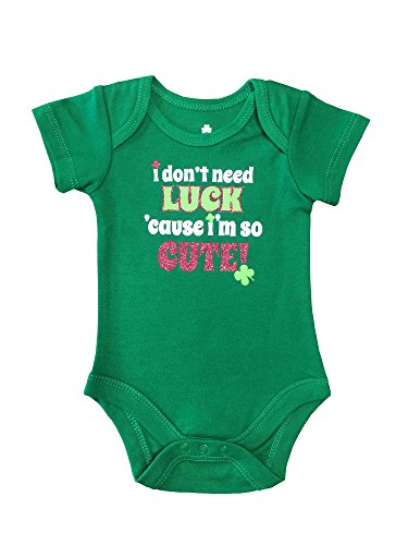 I Don't Need Luck 'Cause I'm So Cute! St. Patrick's Baby Bodysuit (0-3 Months) (Leprechaun Outfits)