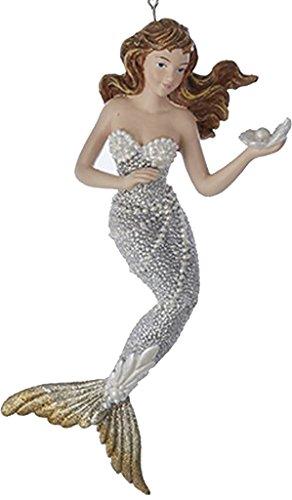Mermaid Christmas Ornament Silver w Gold Tail C6794-C