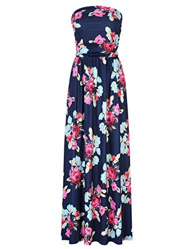 (Leadingstar Women's Flower Casual Beach Party Maxi Dress (Navy Blue Peony, S))