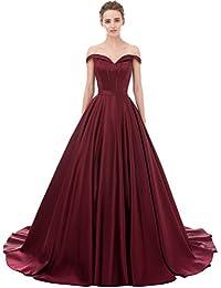 Prom Dresses Sweep Off-Shoulder V-Neck Satin Long Evening Gown
