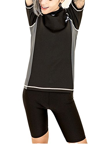 Super Flat Lesbian Tomboy Compression Zip Chest Binder Swimsuit Shirt Trunk Cap (Large)