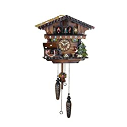 Quartz Cuckoo Clock Swiss house with music, wood-cutter, incl. batteries TU 418 QMT