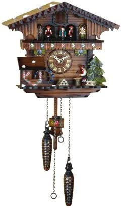 Quartz Cuckoo Clock Swiss house with music, wood-cutter TU 418 QMT