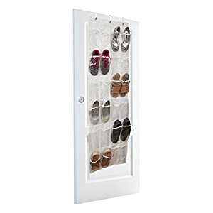 Vinyl Over the Door Shoe Organizer with 24 Reinforced Pockets. Organize your shoes with this shoe rack over the door organizer and save space. Hang on standard doors with 3 steel over the door hooks.