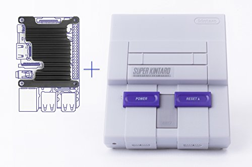 Kintaro SNES inspired Raspberry Pi Case - Super Kuma 9000 with functioning Power & Reset buttons, LED and Custom Aluminum Heatsink (Raspberry Pi 3 Model B)