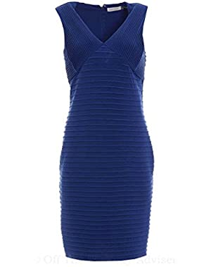 Calvin Klein Women's Textured Pintucked V-Neck Jersey Dress