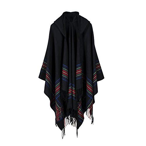 Women's Winter Warm Knitted Cashmere Poncho Capes Shawl Cardigans Sweater Coat (Black, Free Size)