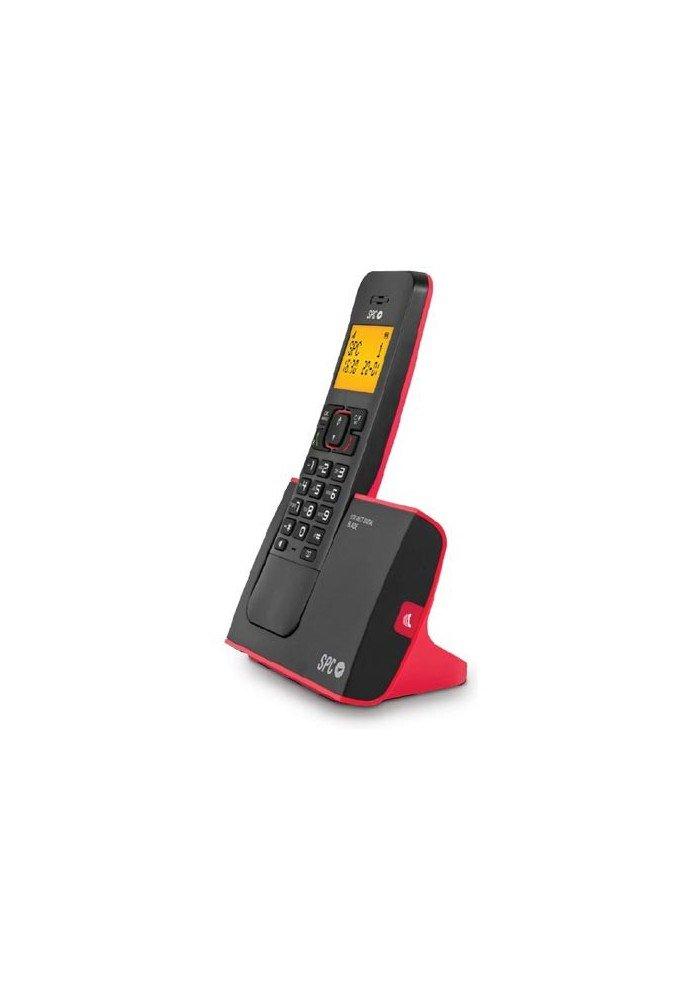 Spc Telecom 7290r - Teléfono inalámbrico (DECT, 50 nombres, manos libres), color rojo y negro