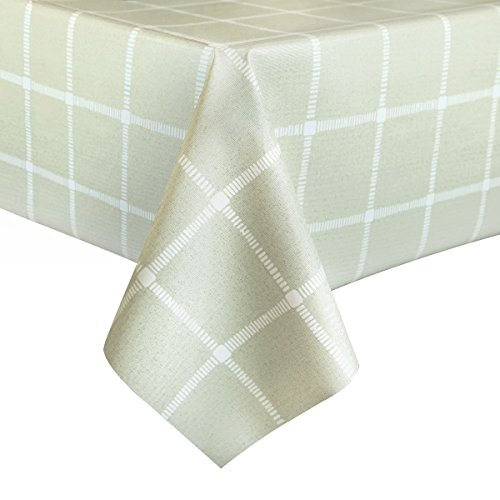 LEEVAN Heavy Weight Vinyl Rectangle Table Cover Wipe Clean PVC Tablecloth Oil-proof/Waterproof Stain-resistant/Mildew-proof – 54 x 72 Inch (Matcha Plaid)