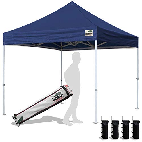 Eurmax 10'x10'Pop Up Canopy Tent Commercial Canopies with Heavy Duty Roller Bag,Bonus 4 Sandbags Weight(Navy Blue)