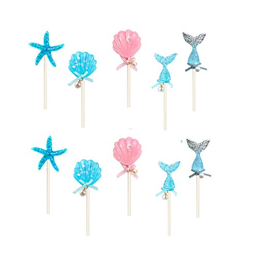 Fineder 10PCS Fairytale Mermaid Theme Happy Birthday Cake Toppers, Reusable Mermaid Cake Decoration Novelty Party Supplies for Baby Shower Birthday Favors, Wedding and Party Decoration