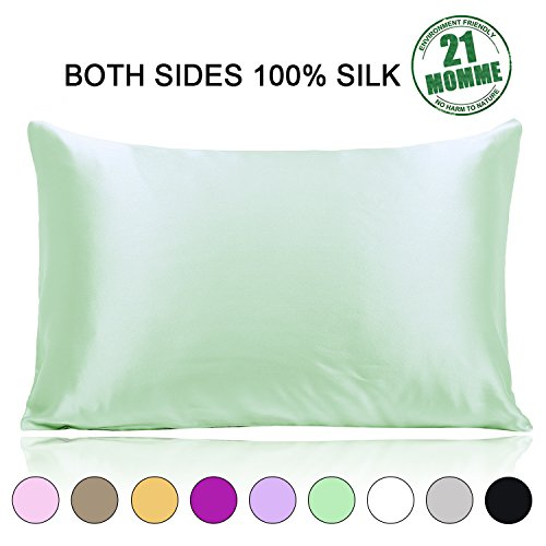 Slip Silk Pillowcase for Hair 21 Momme 600 Thread Count with Zipper Both Sides Mulberry Silk Pillow Case Standard Size Hypoallergenic Soft Breathable, Sage (Green Silk Pillow)
