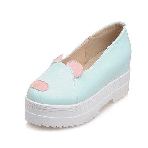 Allhqfashion Femme Couleur Assortie Talons Hauts Pull Bout Rond Fermé Pompes-chaussures Bleu